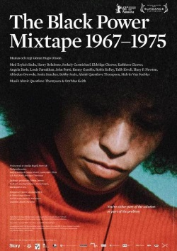 Theatrical poster for The Black Power Mixtape (close up image of Angela Davis looking downward)