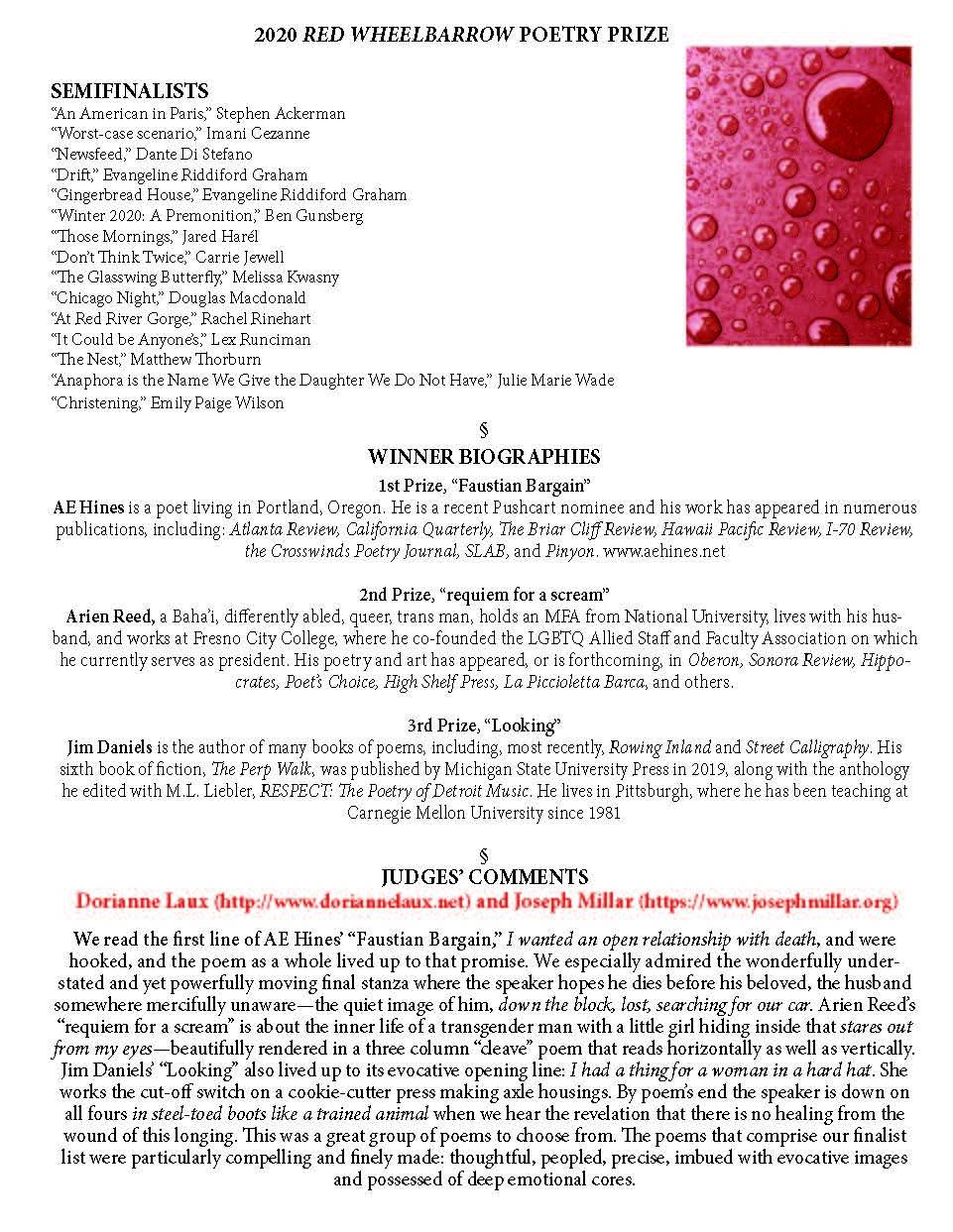 page two of 2020 press release, red wheelbarrow